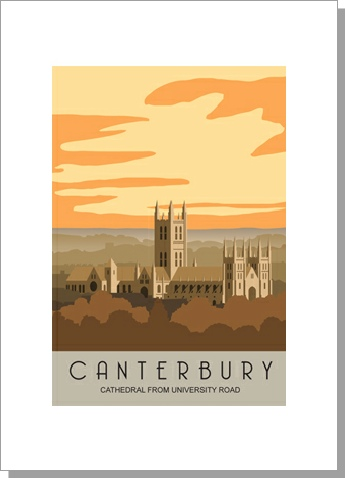 Canterbury Cathedral from the University Road in the evening, portrait