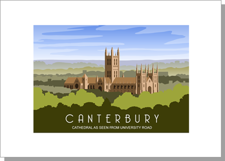 Canterbury Cathedral from the University Road in the daytime, landscape
