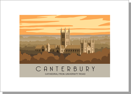 Canterbury Cathedral from the University Road in the evening, landscape